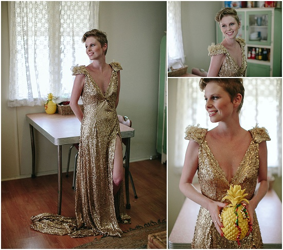 Bride wears sequined gown and holds a pineapple