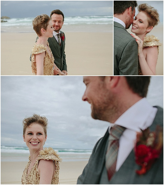 smiles all around for the bride and groom on the beach