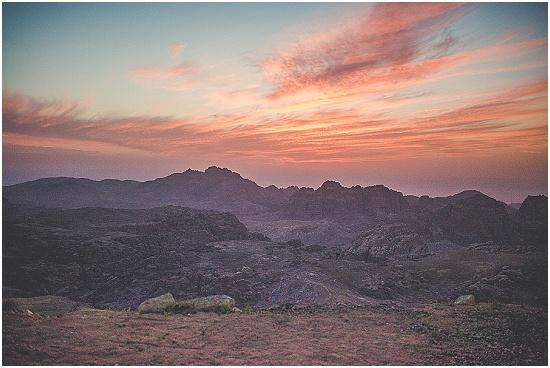 sun set the night before the wedding in Petra Jordan