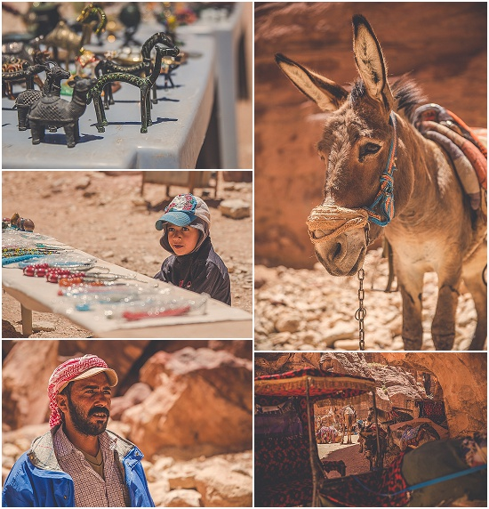 Bedouins sell trinkets in Petra Jordan. Donkeys and camels sit in the sun