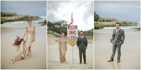 portraits of a bride and groom on a beach in Australia