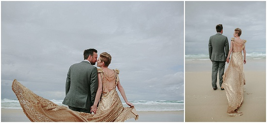 a bride and groom take wedding pictures on an empty beach
