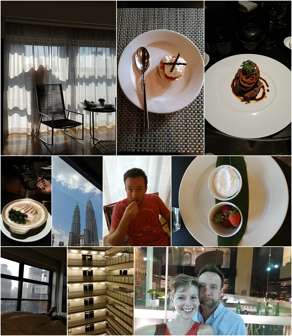a collage of pictures of food and the view at the hotel in Kuala Lumpur