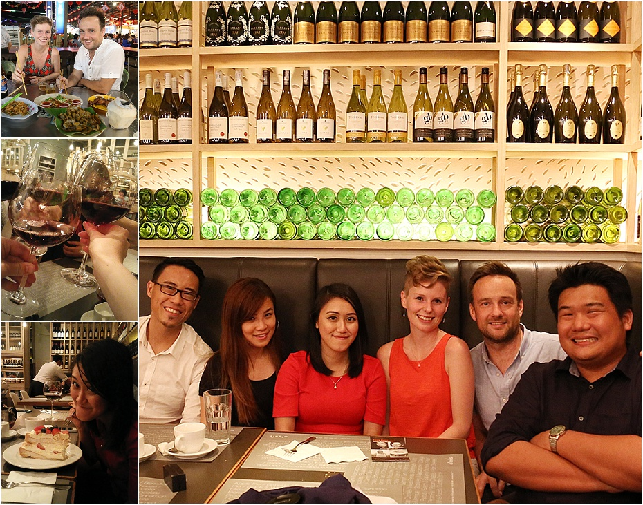 the Malaysian wedding team enjoy wine at a wine bar