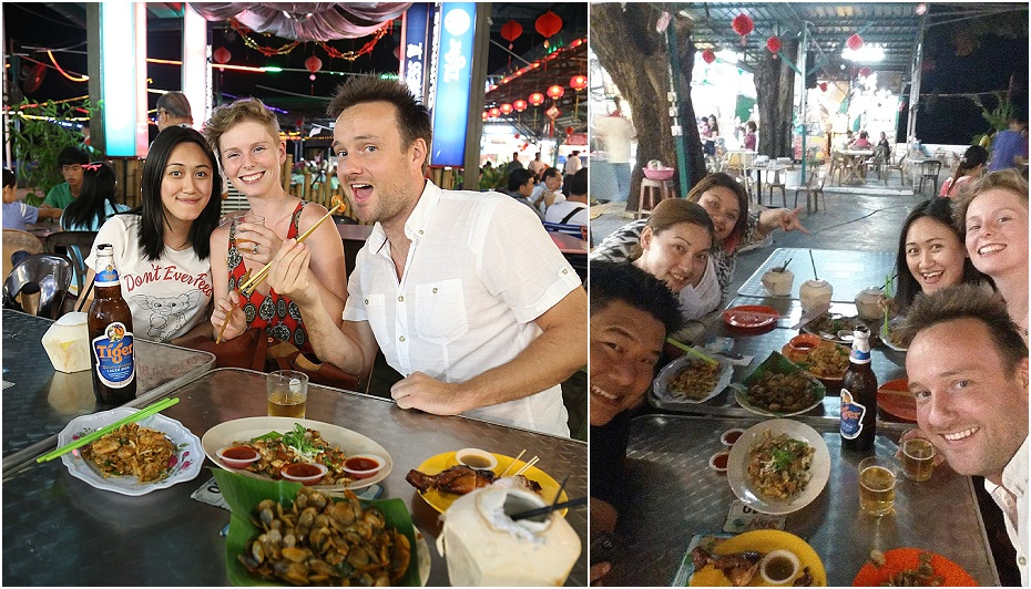 eating at the hawker stalls in Malaysia with friends