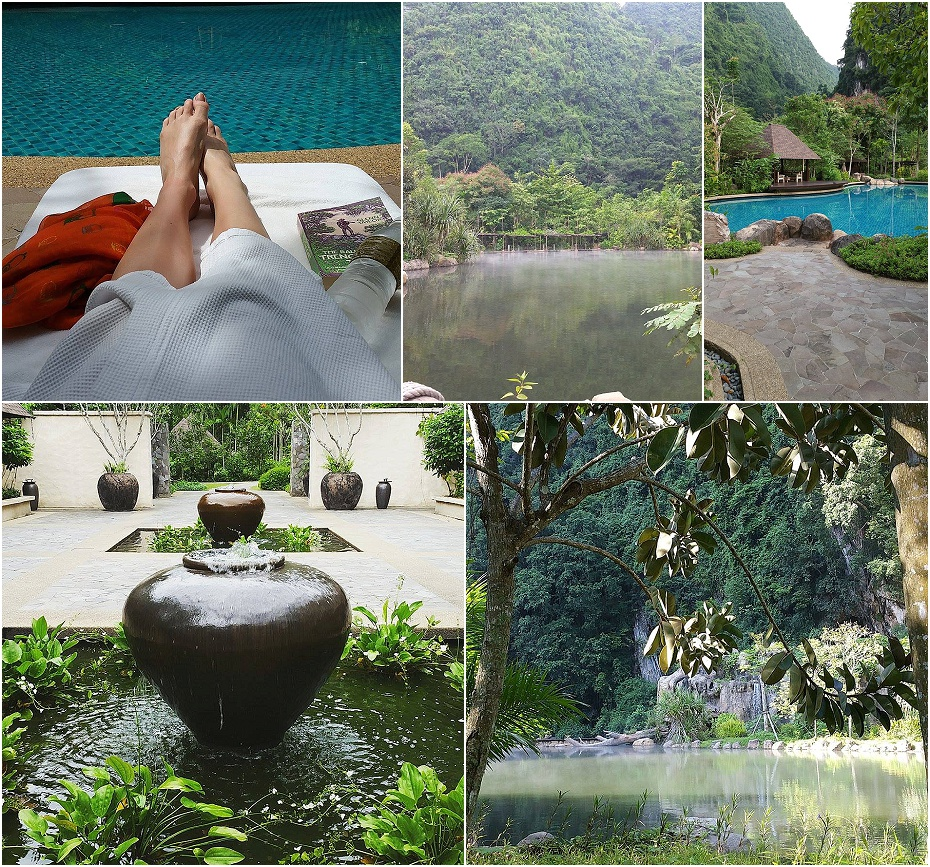 poolside relaxation with a book in The Banjaran Hotel