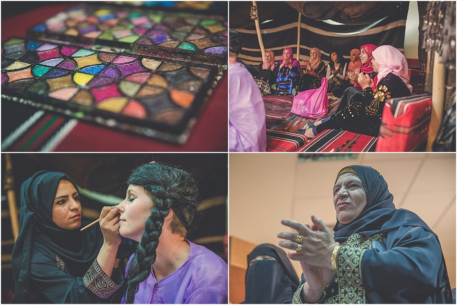 Lisa is prepared for the Petra wedding by a group of singing Jordanian women