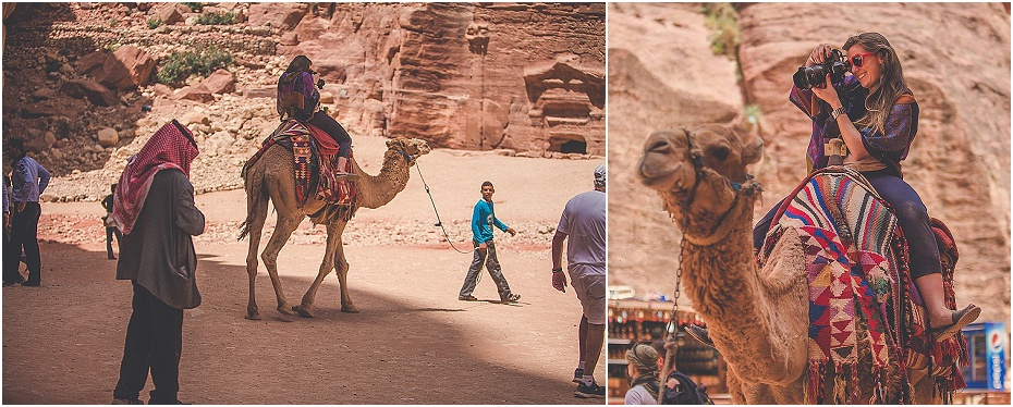 wedding photographer rides a camel at The Treasury in Petra