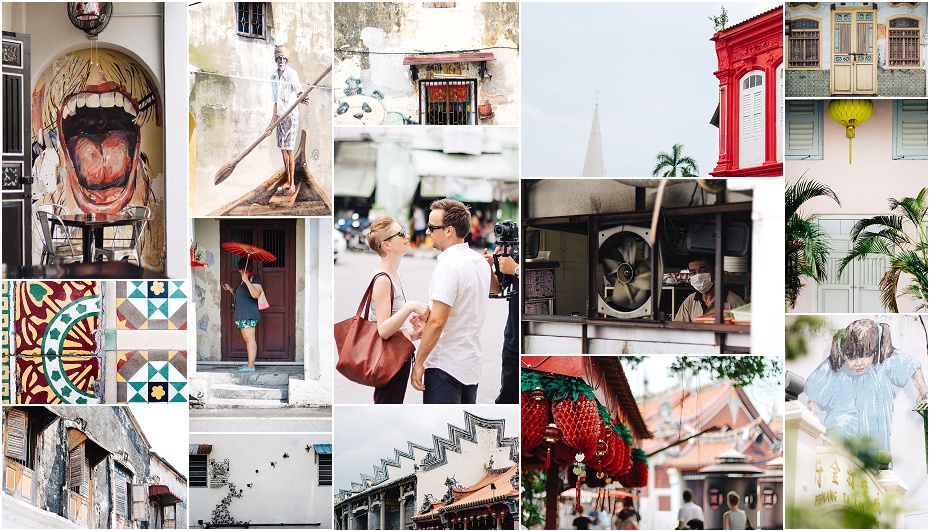 a collage of images from the famous Penang and its murals