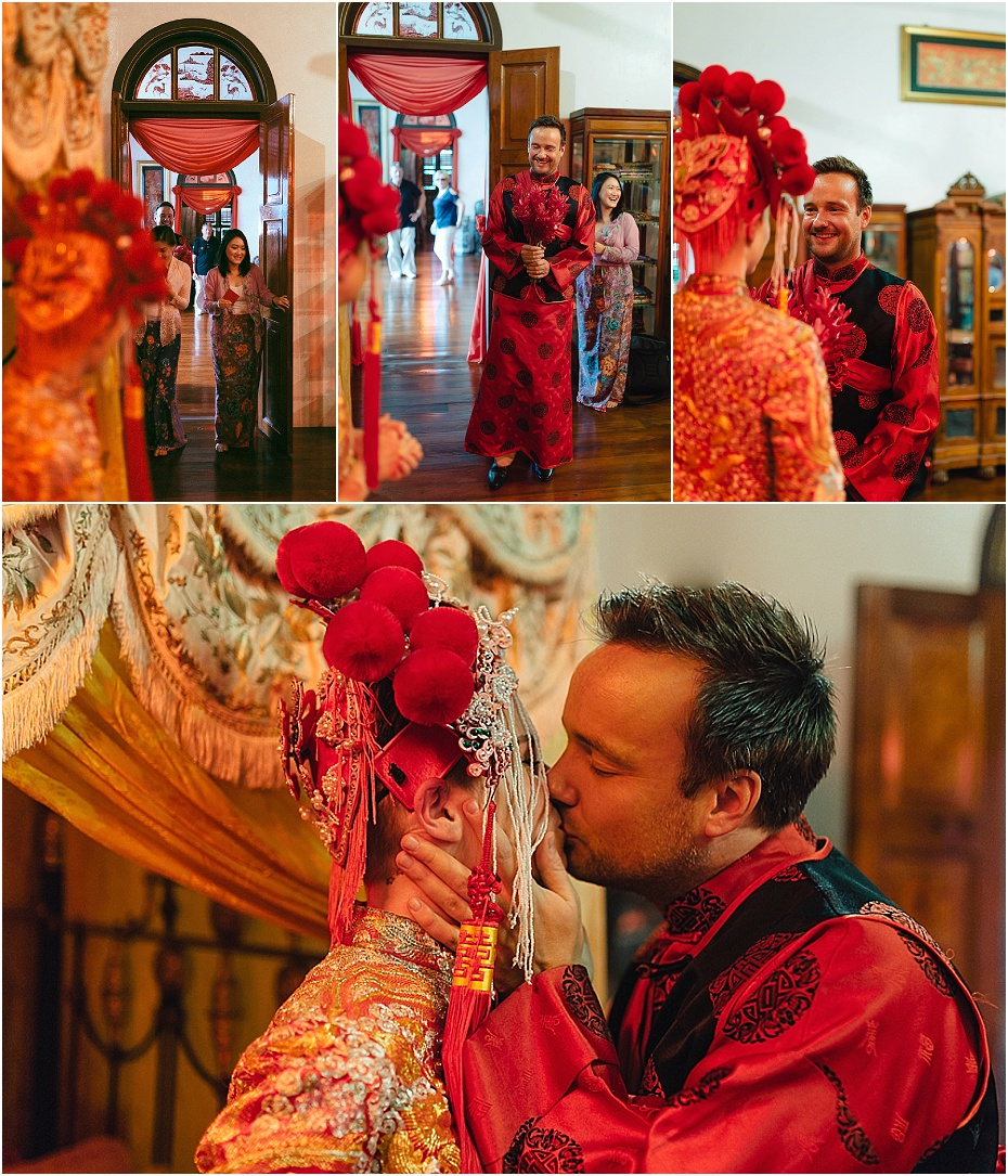 Bride and groom kiss at the first look before the wedding in malaysia