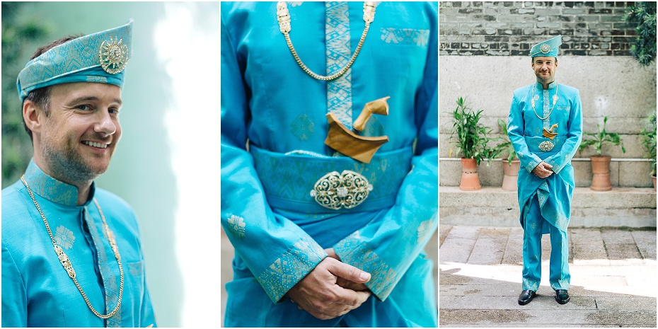 Groom looks handsome in his traditional Malaysian wedding attire